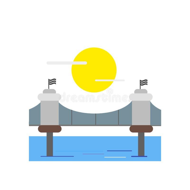 Tecken och symbol för vektor för symbol för Brooklyn bro som isoleras på vita lodisar royaltyfri illustrationer
