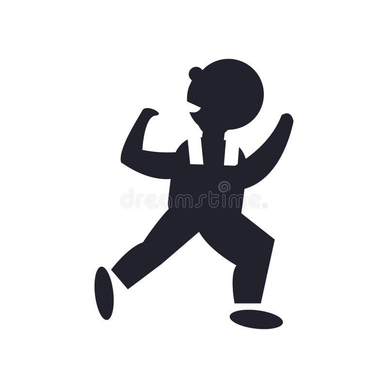 Tecken och symbol för vektor för dansmansymbol som isoleras på vit bakgrund som dansar manlogobegrepp royaltyfri illustrationer