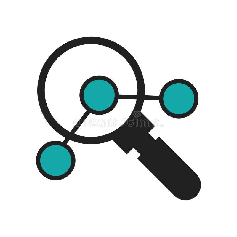 Tecken och symbol för vektor för symbol för dataanalyticssymbol som isoleras på vit bakgrund, begrepp för logo för dataanalyticss stock illustrationer