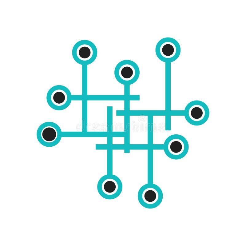 Tecken och symbol för vektor för symbol för dataanslutning som grafiskt isoleras på vit bakgrund, begrepp för logo för dataanslut vektor illustrationer