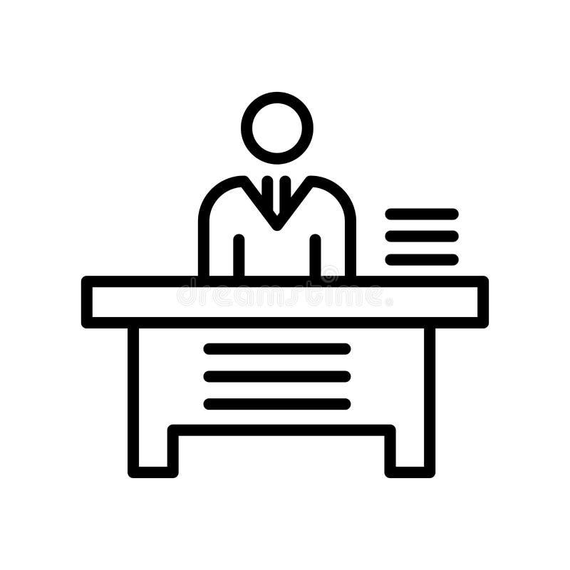 Tecken och symbol för vektor för direktörskrivbordsymbol som isoleras på vit baksida royaltyfri illustrationer