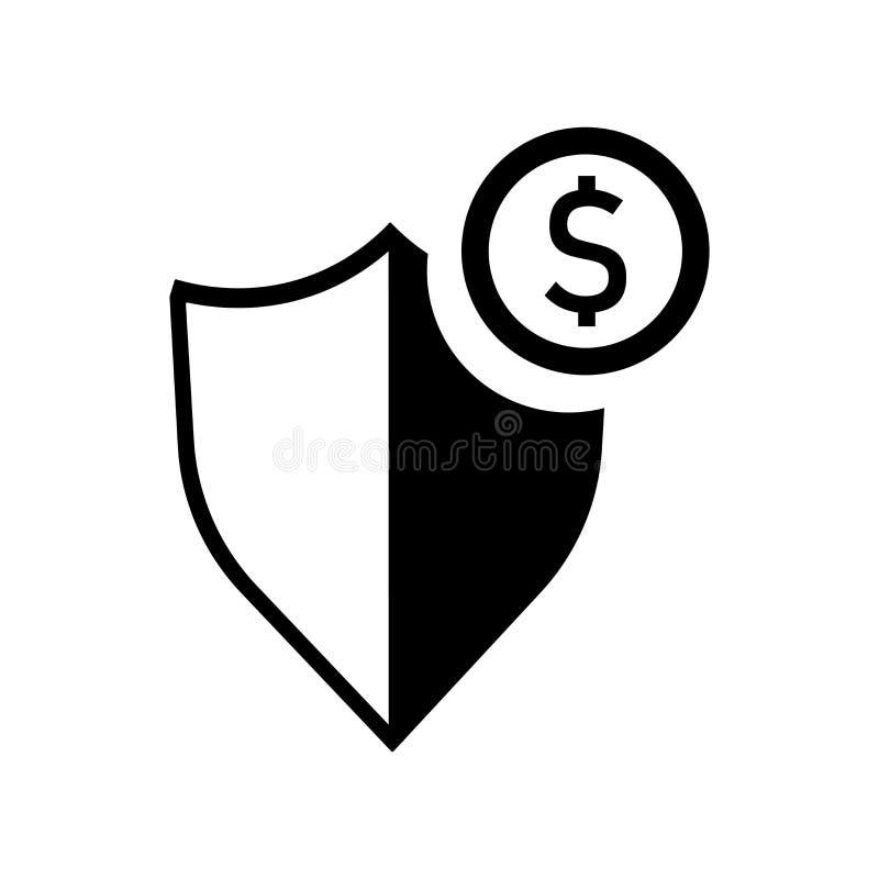 Tecken och symbol för vektor för symbol för dollarpengarskydd som isoleras på vit bakgrund, begrepp för logo för dollarpengarskyd stock illustrationer