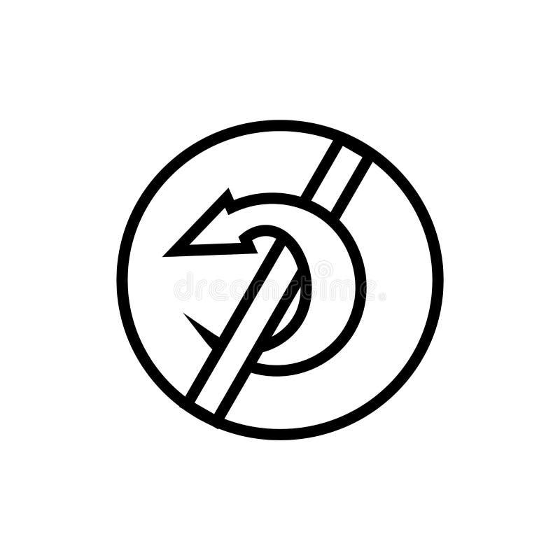 Tecken och symbol för vektor för förbudcirkelsymbol som isoleras på vit bakgrund, begrepp för förbudcirkellogo vektor illustrationer