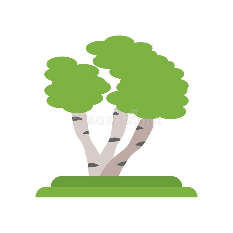 Tecken och symbol för vektor för Gray Birch trädsymbol som isoleras på vita lodisar vektor illustrationer