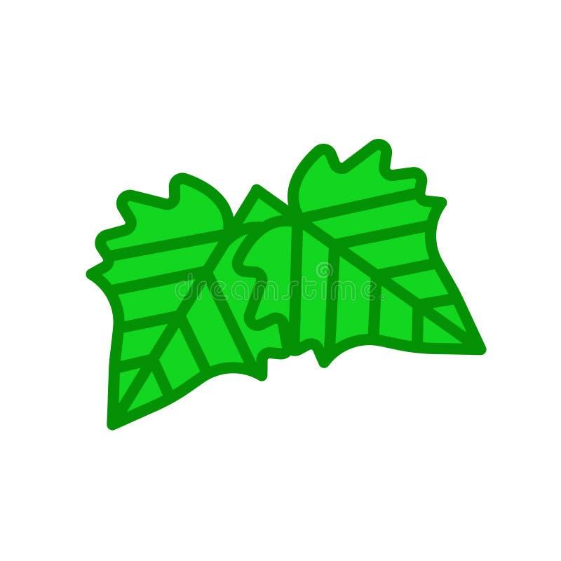 Tecken och symbol för vektor för hagtornbladsymbol som isoleras på vitbaksida stock illustrationer
