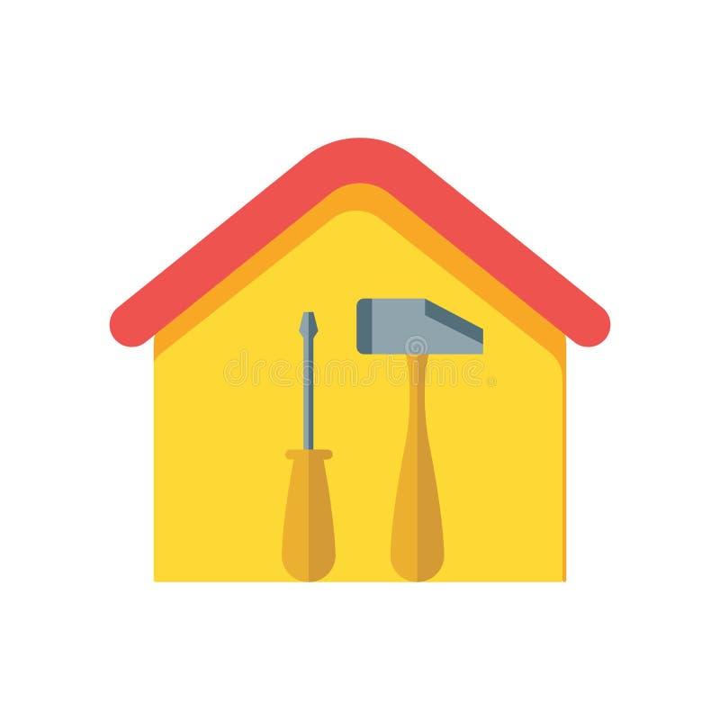 Tecken och symbol för vektor för husreparationssymbol som isoleras på vit backg vektor illustrationer