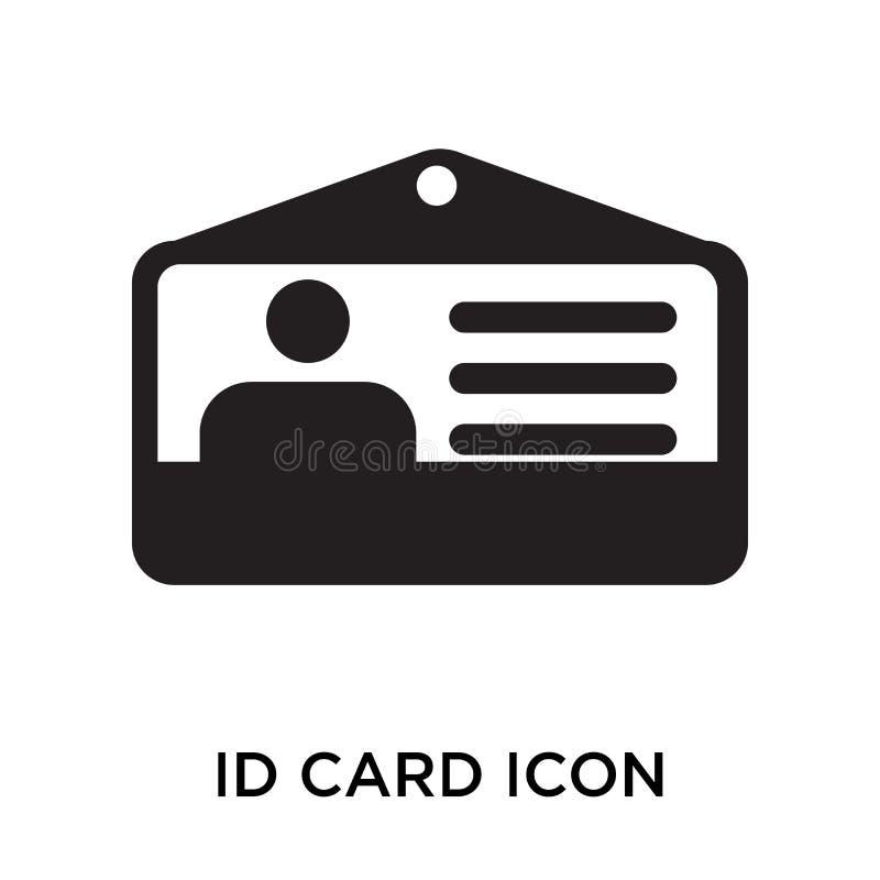 Tecken och symbol för vektor för ID-kortsymbol som isoleras på vit bakgrund royaltyfri illustrationer