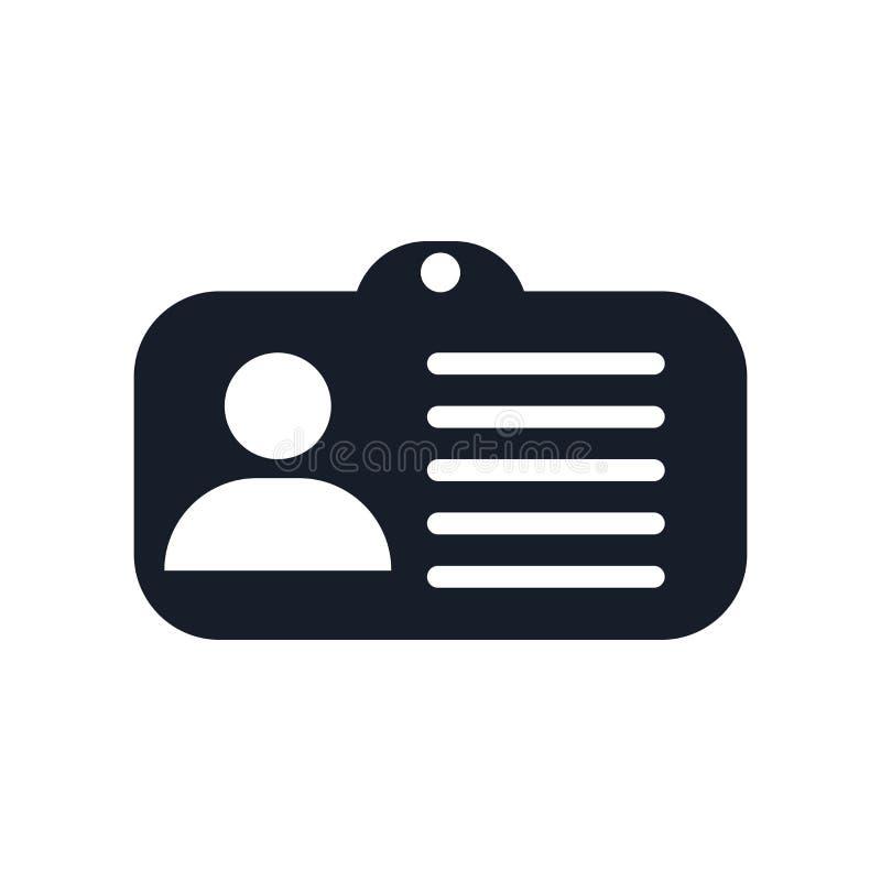 Tecken och symbol för vektor för ID-kortsymbol som isoleras på vit bakgrund, begrepp för ID-kortlogo royaltyfri illustrationer