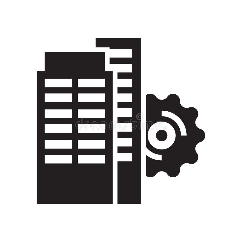 Tecken och symbol för vektor för inställningssymbolssymbol som isoleras på vit bakgrund, begrepp för inställningssymbolslogo royaltyfri illustrationer