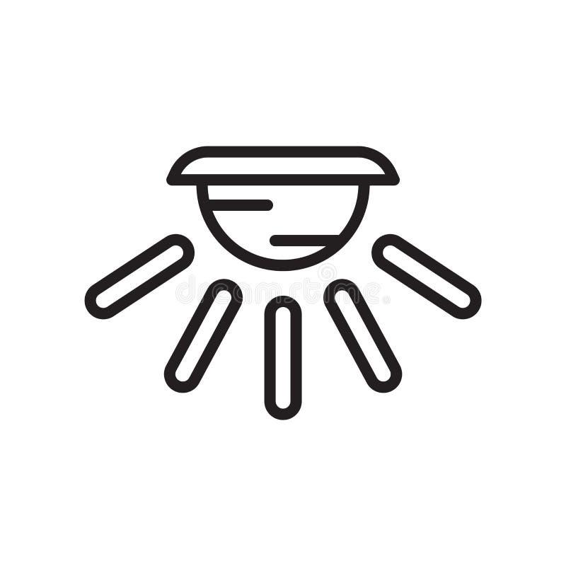 Tecken och symbol för vektor för symbol för kupolljus som isoleras på vit bakgrund, begrepp för logo för kupolljus stock illustrationer