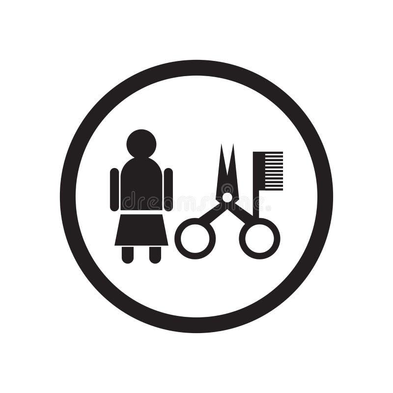 Tecken och symbol för vektor för kvinnafrisörsymbol som isoleras på vit bakgrund, begrepp för kvinnafrisörlogo stock illustrationer