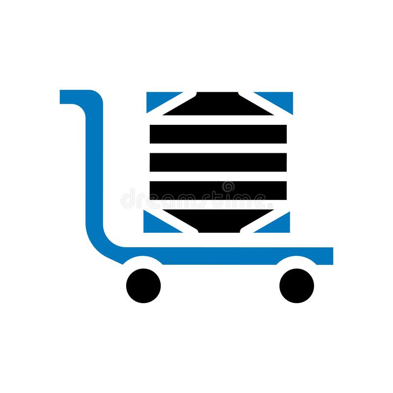 Tecken och symbol för vektor för leveransvagnssymbol som isoleras på vit bakgrund, begrepp för leveransvagnslogo vektor illustrationer