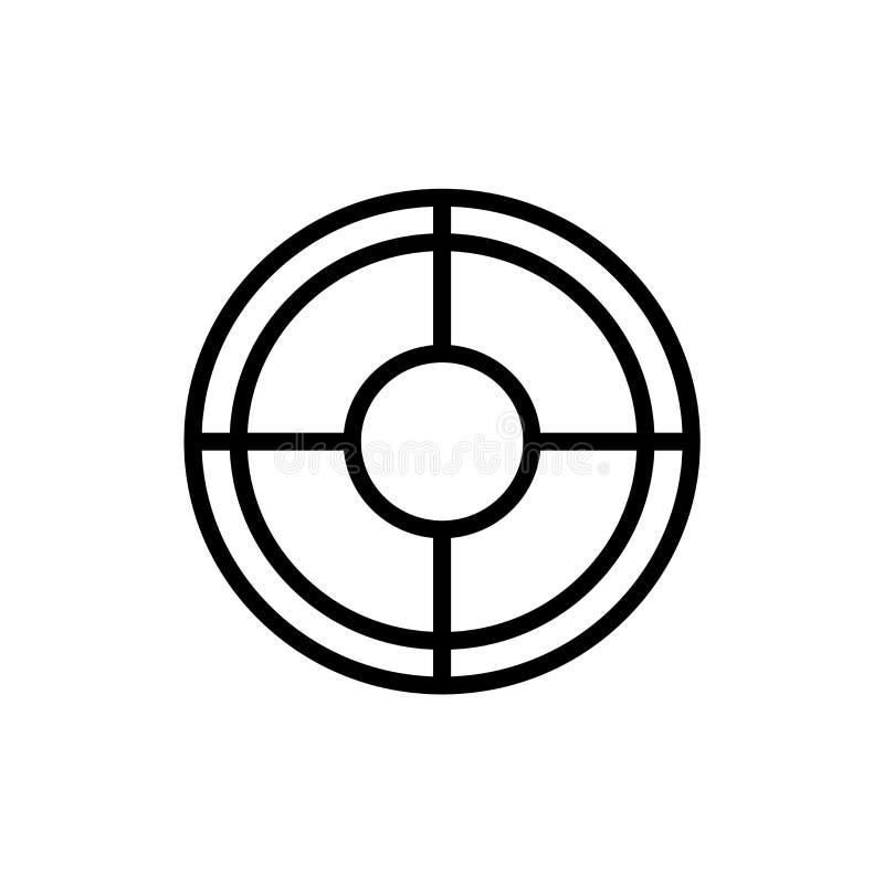 Tecken och symbol för vektor för målsymbolsymbol som isoleras på vit bakgrund, begrepp för målsymbollogo stock illustrationer