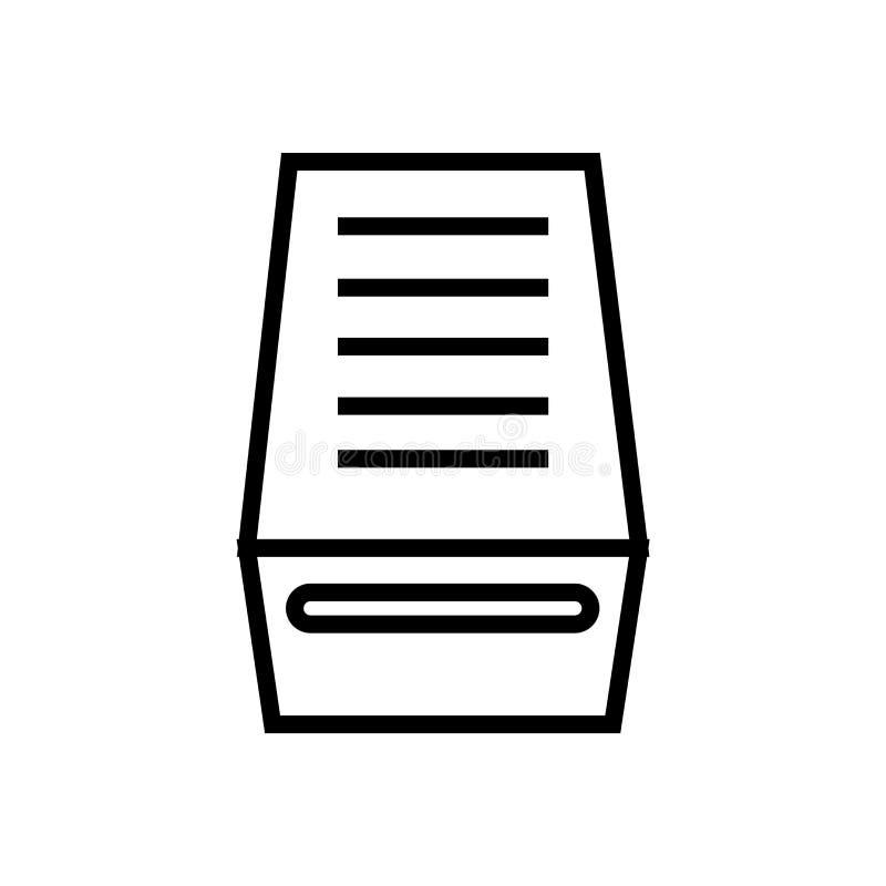 Tecken och symbol för vektor för mappinboxsymbol som isoleras på vit bakgrund, begrepp för mappinboxlogo vektor illustrationer