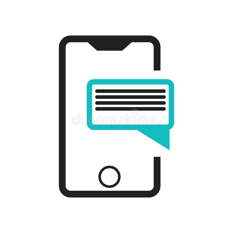 Tecken och symbol för vektor för symbol för symbol för mobiltelefontextdata som isoleras på vit bakgrund, begrepp för logo för sy royaltyfri illustrationer