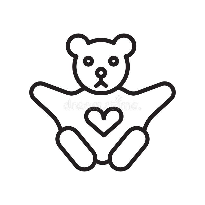 Tecken och symbol för vektor för symbol för nallebjörn som isoleras på vit bakgrund, begrepp för logo för nallebjörn stock illustrationer