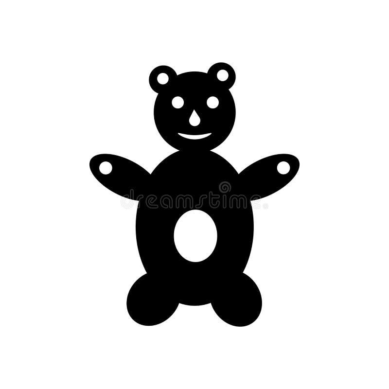 Tecken och symbol för vektor för symbol för nallebjörn som isoleras på vit bakgrund, begrepp för logo för nallebjörn vektor illustrationer