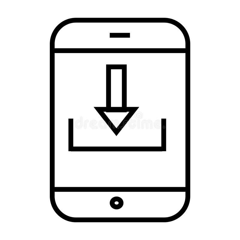 Tecken och symbol för vektor för nedladdningpilsymbol som isoleras på vit bakgrund, begrepp för nedladdningpillogo stock illustrationer