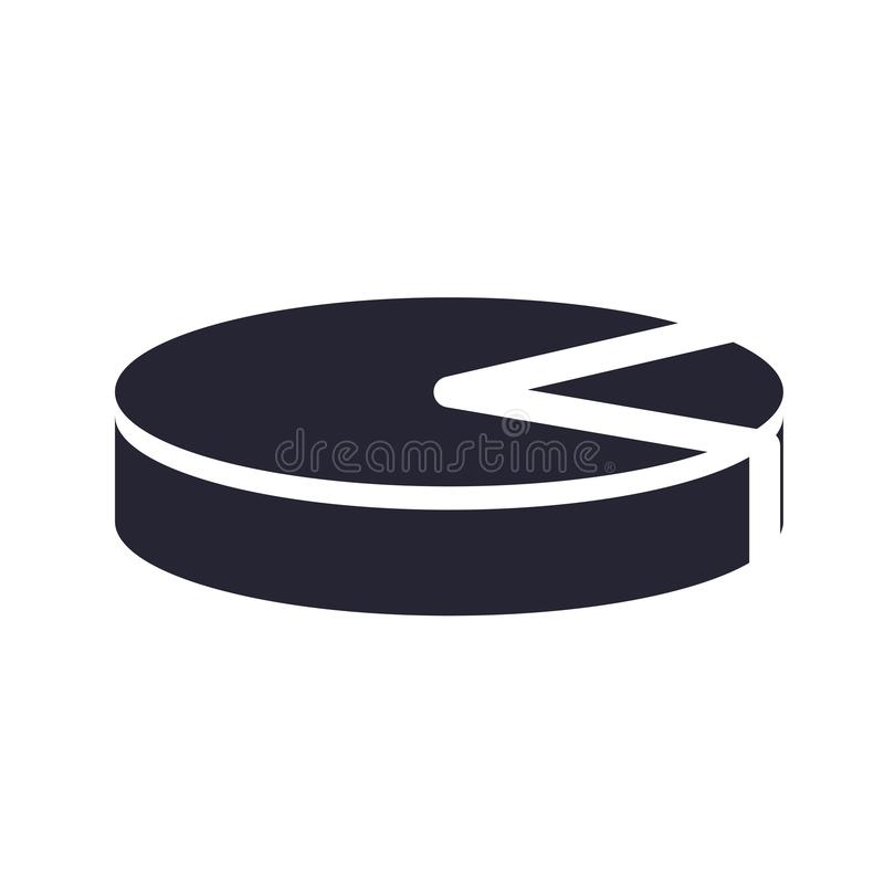 Tecken och symbol för vektor för symbol för pajdiagram som isoleras på vit bakgrund, begrepp för logo för pajdiagram vektor illustrationer
