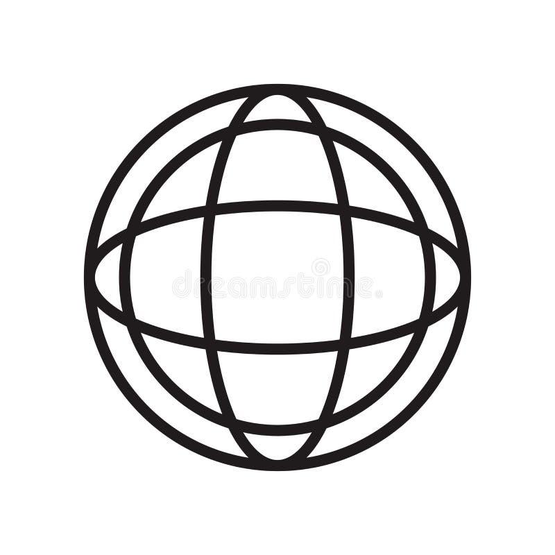 Tecken och symbol för vektor för symbol för symbol för planetraster som runt isoleras på vit bakgrund, begrepp för logo för symbo royaltyfri illustrationer