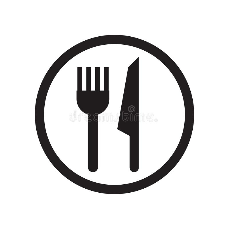 Tecken och symbol för vektor för restaurangteckensymbol som isoleras på vit bakgrund, begrepp för restaurangteckenlogo royaltyfri illustrationer