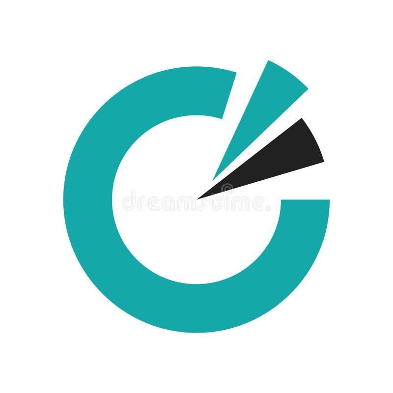 Tecken och symbol för vektor för symbol för runt diagram för data som isoleras på vit bakgrund, begrepp för logo för runt diagram vektor illustrationer