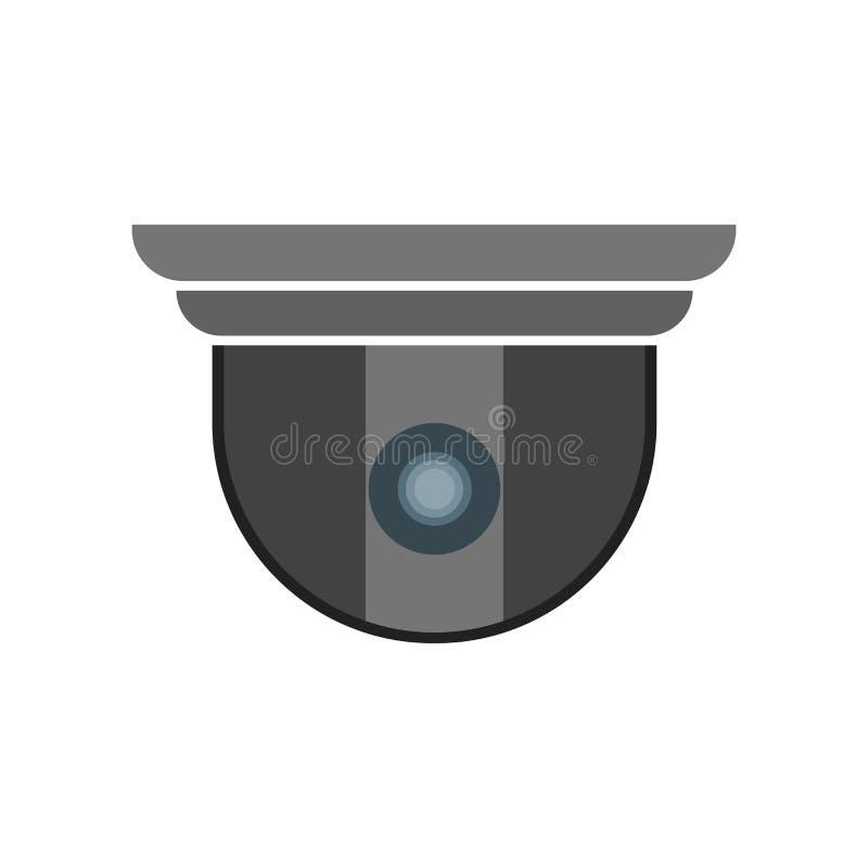 Tecken och symbol för vektor för symbol för säkerhetskamera som isoleras på vit bakgrund, begrepp för logo för säkerhetskamera vektor illustrationer