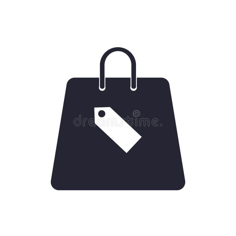 Tecken och symbol för vektor för symbol för shoppingpåse som isoleras på vit bakgrund, begrepp för logo för shoppingpåse vektor illustrationer