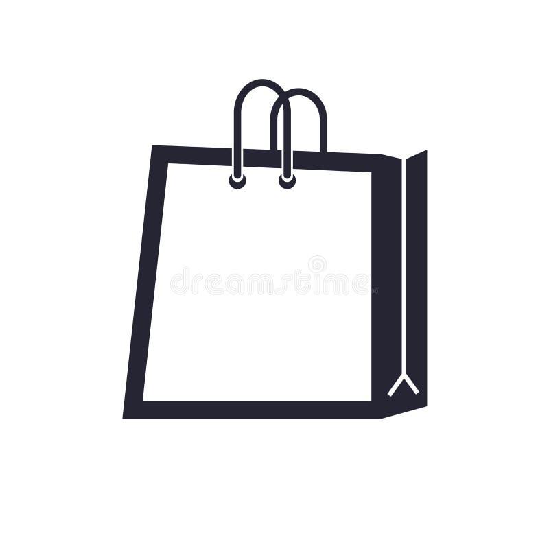 Tecken och symbol för vektor för symbol för shoppingpåse som isoleras på vit bakgrund, begrepp för logo för shoppingpåse stock illustrationer