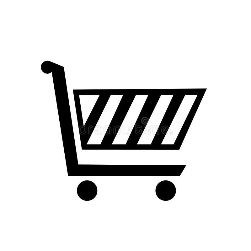 Tecken och symbol för vektor för symbol för shoppingvagn som isoleras på vit bakgrund, begrepp för logo för shoppingvagn vektor illustrationer