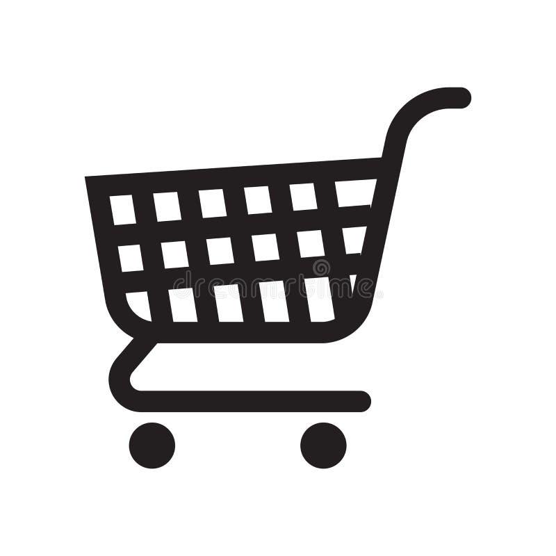 Tecken och symbol för vektor för symbol för shoppingvagn som isoleras på vitbaksida royaltyfri illustrationer