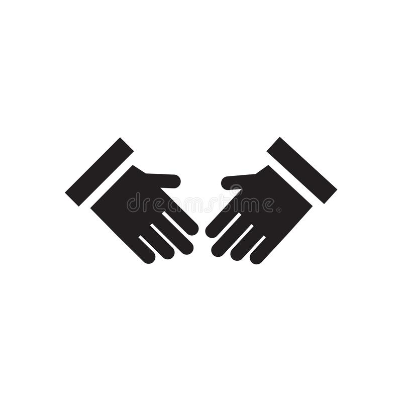 Tecken och symbol för vektor för skakahandsymbol som isoleras på vit bakgrund, begrepp för skakahandlogo vektor illustrationer