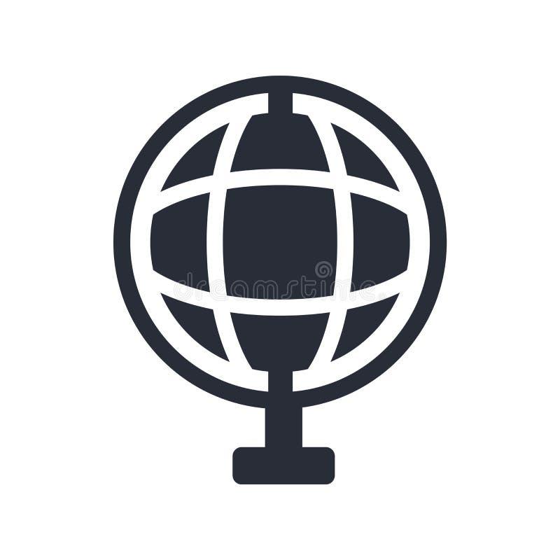 Tecken och symbol för vektor för skolajordklotsymbol som isoleras på vit bakgrund, begrepp för skolajordklotlogo royaltyfri illustrationer