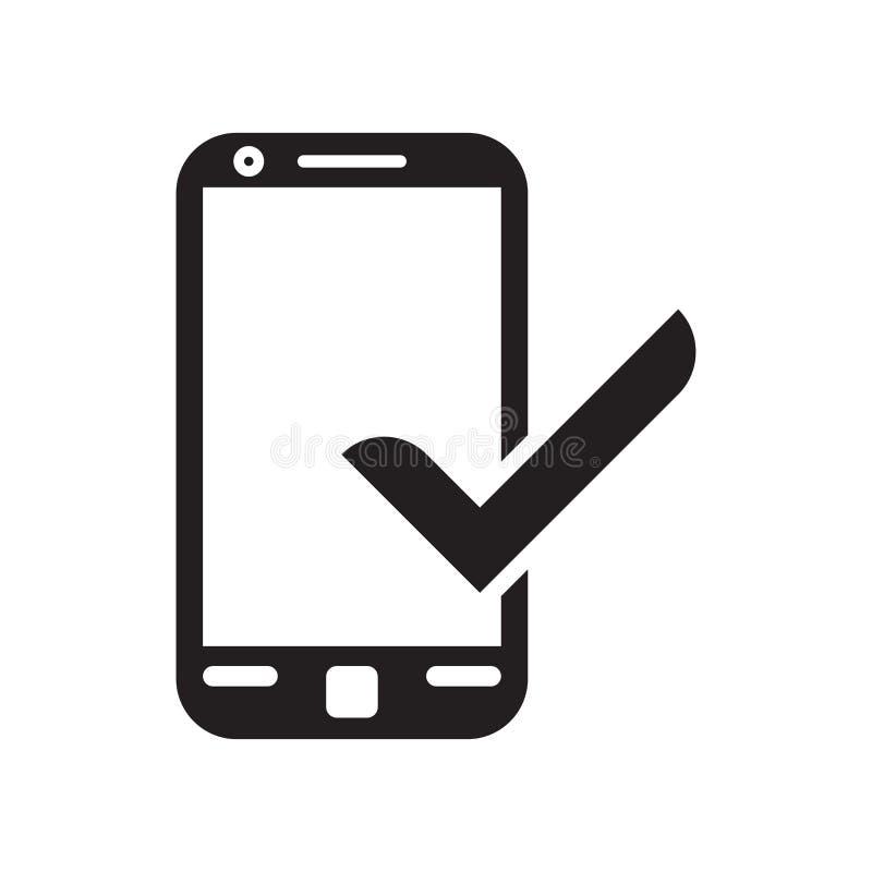 Tecken och symbol för vektor för Smartphone och kontrollfläcksymbol som isoleras på det vita bakgrunds-, Smartphone och kontrollf royaltyfri illustrationer
