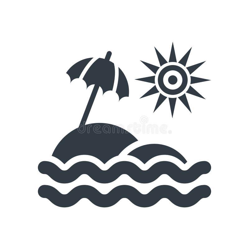 Tecken och symbol för vektor för symbol för solparaply som isoleras på vit backg vektor illustrationer