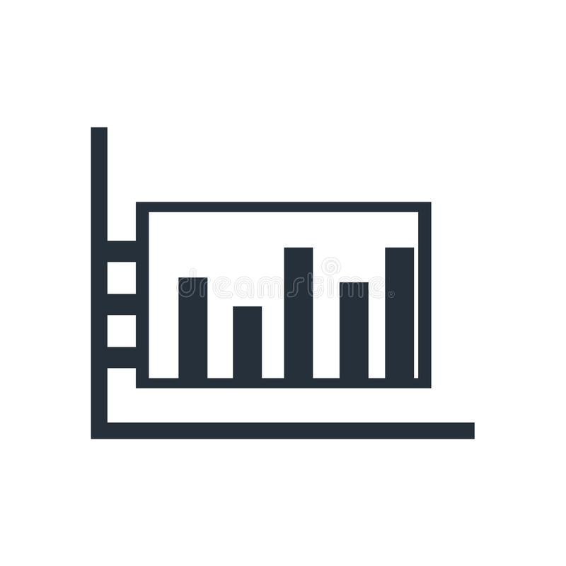Tecken och symbol för vektor för stångdiagramsymbol som isoleras på vit bakgrund, begrepp för stångdiagramlogo stock illustrationer