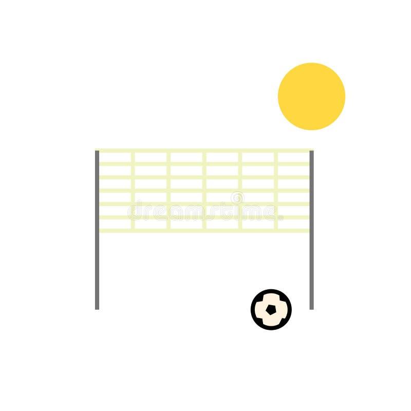 Tecken och symbol för vektor för symbol för strandvolleyboll som isoleras på vit bakgrund, begrepp för logo för strandvolleyboll stock illustrationer