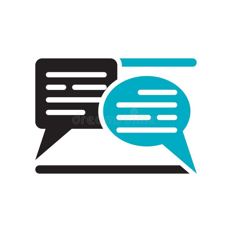 Tecken och symbol för vektor för textpratstundsymbol som isoleras på vit bakgrund, begrepp för textpratstundlogo stock illustrationer