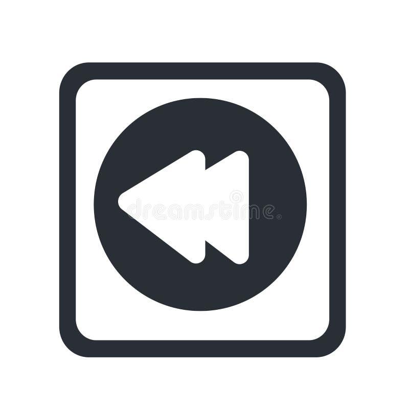 Tecken och symbol för vektor för tillbakaspolningsymbolsymbol som isoleras på vit bakgrund, begrepp för tillbakaspolningsymbollog royaltyfri illustrationer