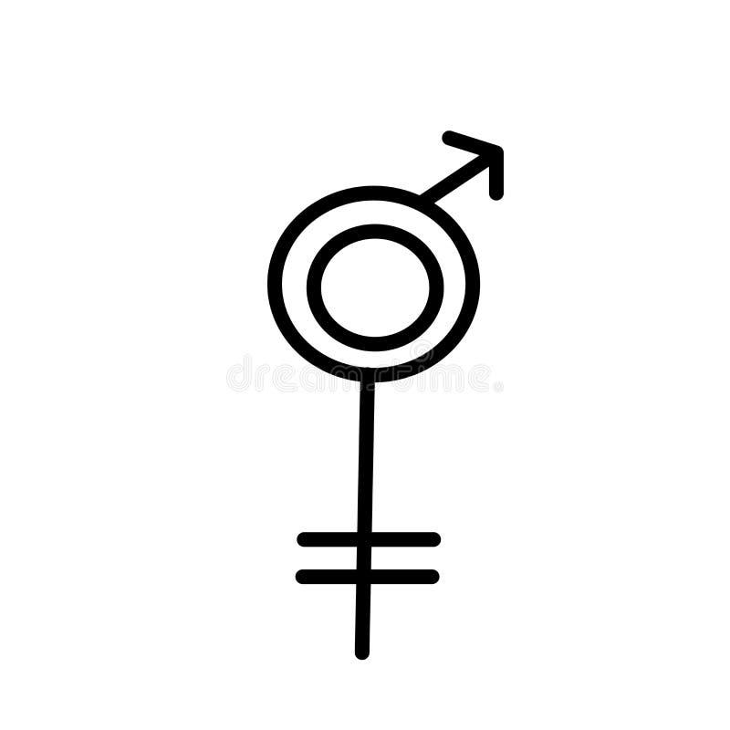 Tecken och symbol för vektor för Transgendersymbolsymbol som isoleras på vit bakgrund, begrepp för Transgendersymbollogo vektor illustrationer