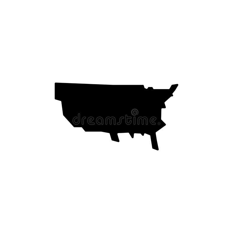 Tecken och symbol för vektor för USA-översiktssymbol som isoleras på vit bakgrund, begrepp för USA-översiktslogo royaltyfri illustrationer