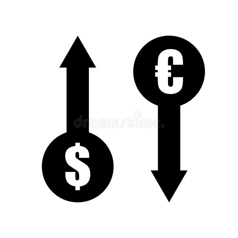 Tecken och symbol för vektor för symbol för utbyte för dollareuropengar som isoleras på vit bakgrund, begrepp för logo för utbyte vektor illustrationer