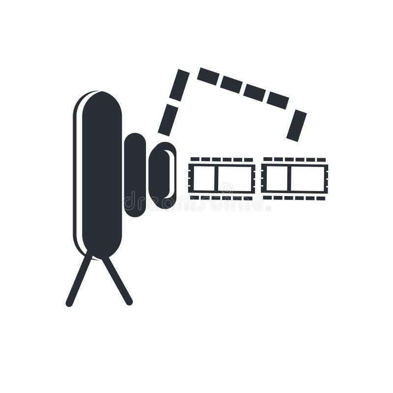 Tecken och symbol för vektor för videokameraFront View symbol som isoleras på vit bakgrund, begrepp för videokameraFront View log stock illustrationer