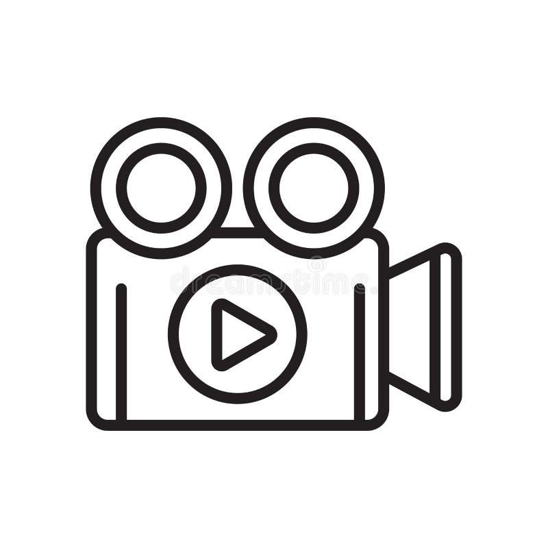 Tecken och symbol för videokamerasymbolsvektor som isoleras på vit backg stock illustrationer