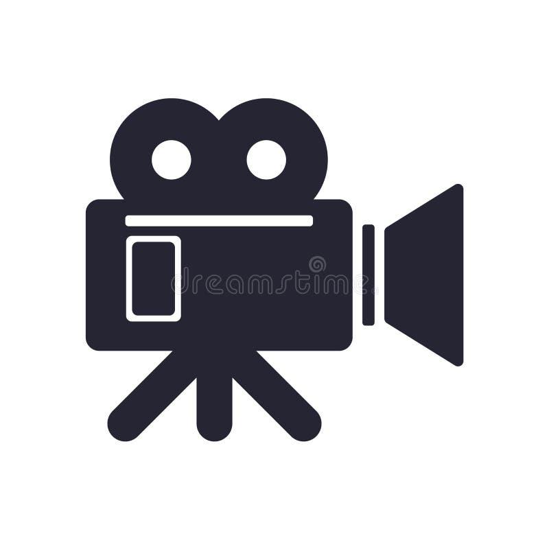 Tecken och symbol för videokamerasymbolsvektor som isoleras på vit bakgrund, videokameralogobegrepp stock illustrationer
