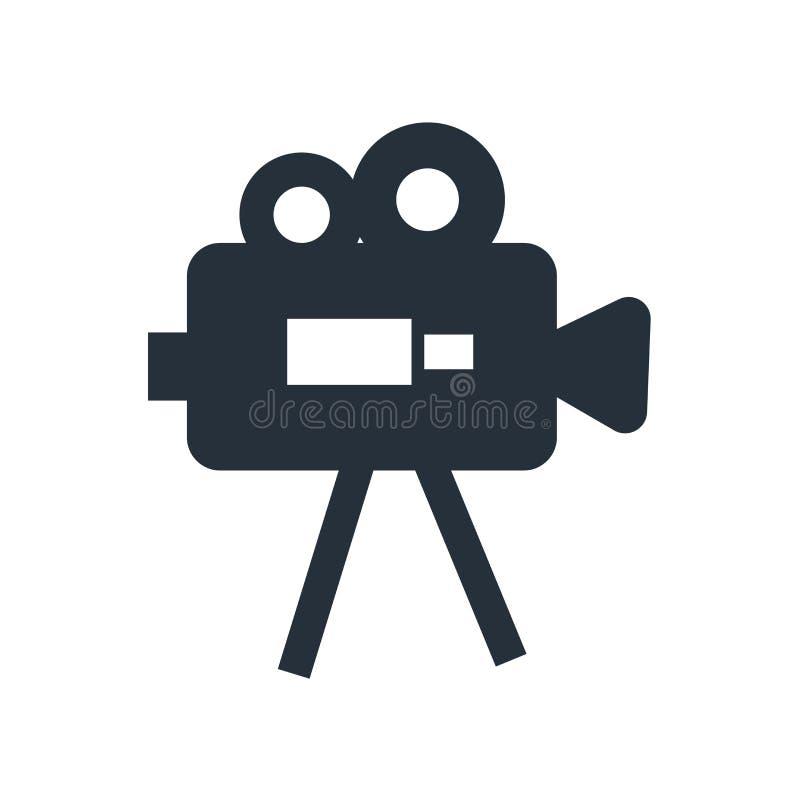 Tecken och symbol för videokamerasymbolsvektor som isoleras på vit bakgrund, videokameralogobegrepp royaltyfri illustrationer