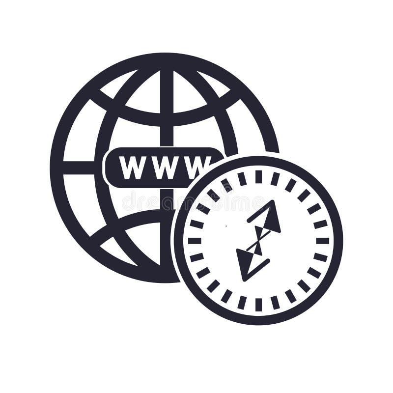 Tecken och symbol för webbläsaresymbolsvektor som isoleras på vit bakgrund, webbläsarelogobegrepp stock illustrationer
