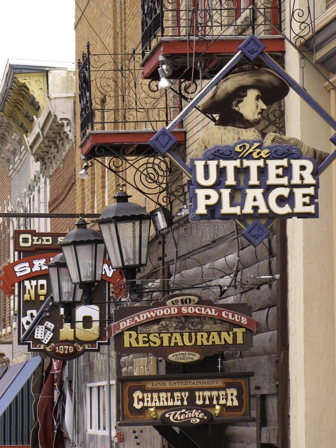 Tecken på Deadwood för huvudsaklig gata arkivbild