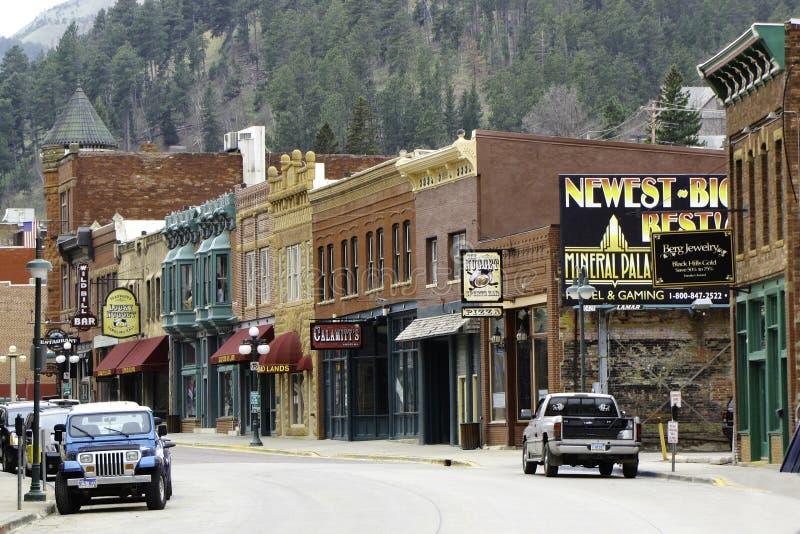 Tecken på Deadwood för huvudsaklig gata royaltyfri fotografi