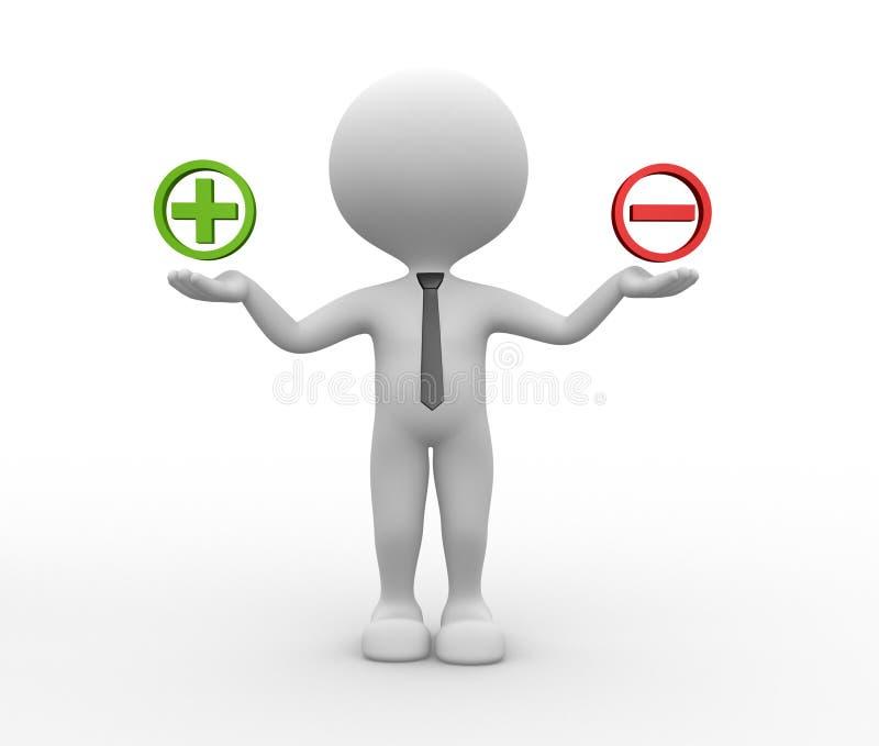 Tecken plus eller negativ stock illustrationer